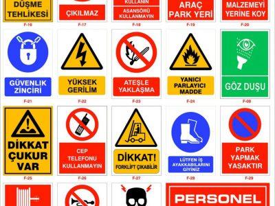 uyarı ve iş güvenliği levhaları